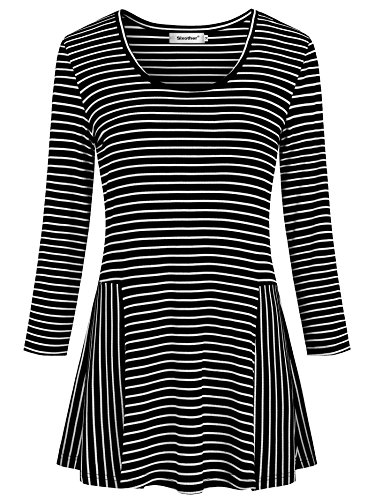 (Sixother XL Striped Tunic Tanks for Women, Cowl Neck Half Sleeve Black Blusas De Mujer De Moda 2018 Loose Fitting Casual Spring Fall Shirts Hawaiian Knit Blouses.)