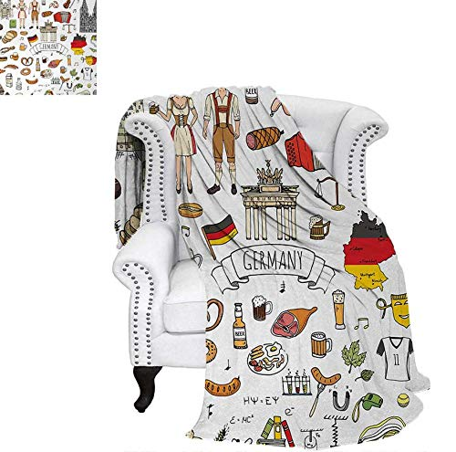 Digital Printing Blanket Hand Drawn Doodle of German Culture Icons Football Jersey Food Science and Music Summer Quilt Comforter 62