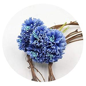 love enjoy Marigold 6pcs/Bunch 3.5cm Mini Daisy Flower Bouquet Artificial Flower Wedding Decoration DIY Craft Home Decoration Accessories,Blue 48