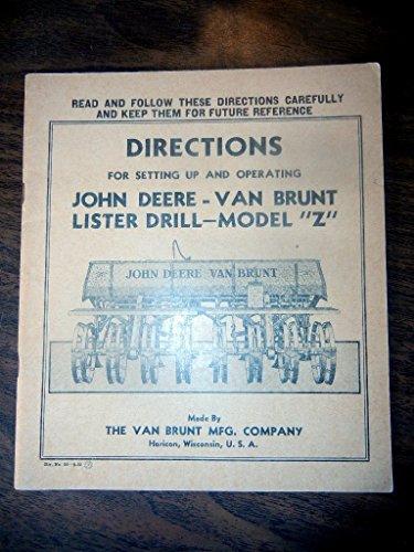 1952 John Deere Van Brunt Z lister Drill Operators Manual