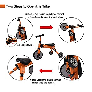 Glaf 2 In 1 Baby Trike with Carry Bag, Toddlers Three Wheels Balance Bike and Tricycle, Lightweight and Folding, For Ages 18 Months+ Boys or Girls (Orange)