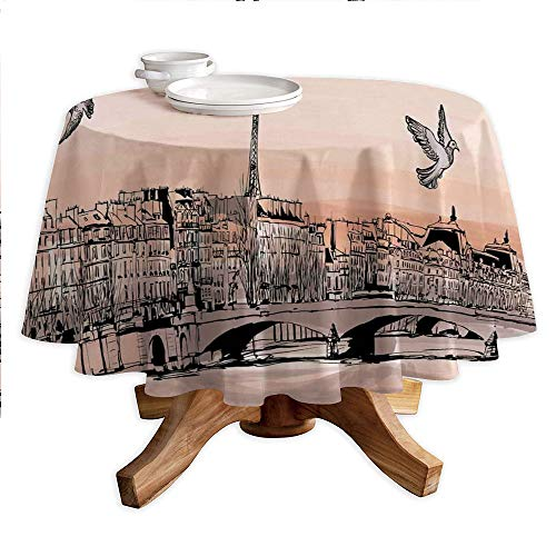 Landscape Round Polyester Tablecloth,Panorama Sketch Art Sunset View of Paris from Pont Des Arts with Pigeons River,Dining Room Kitchen Round Table Cover,55
