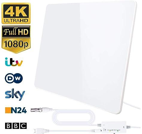 One For All SV9421, Antena de TV para Interior Amplificada, Recibe TDT en un Rango de 15km, Antena HDTV Digital, Incluye Cable Coaxial de Alto Rendimiento, VHF/UHF, Blanca: Amazon.es: Electrónica