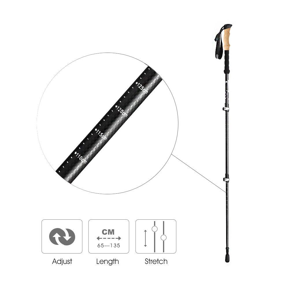 ENKEEO - 2 Pack Bastones de Senderismo Trekking Ultraligero (Fibra de Carbono, Corcho Artificial, 3 Tramos Extensibles, EVA Sweat Free, Actividades Al ...