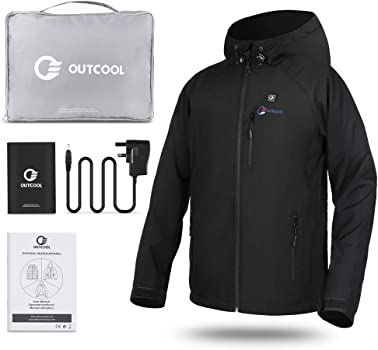 OUTCOOL Mens Heated Jacket Softshell Heated Clothing Waterproof Windproof Hoodie Jacket with Battery
