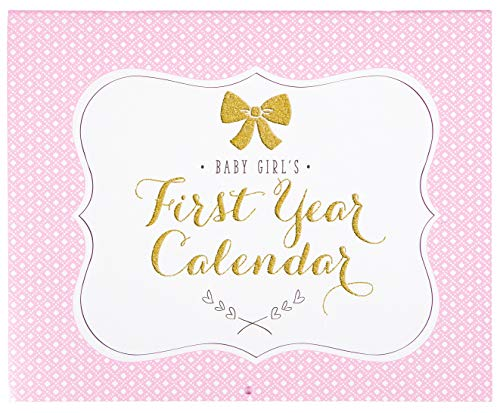 C.R. Gibson Pink, White, and Gold ''Baby Girl's'' First Year Baby Calendar for Newborn Girls Memory Book with Stickers, 11'' L x 18'' H A Babys First Year Calendar
