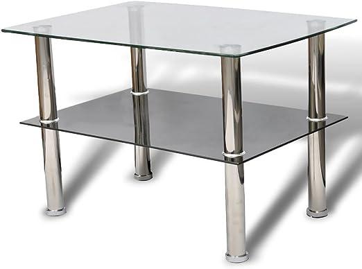vidaXL Mesa de café de Cristal 2 gradas: Amazon.es: Hogar