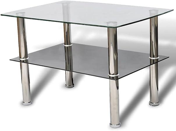 Salon Basse d'Appoint Étagères Verre Canapé Table Table vidaXL Table de 2 bf67yvYg