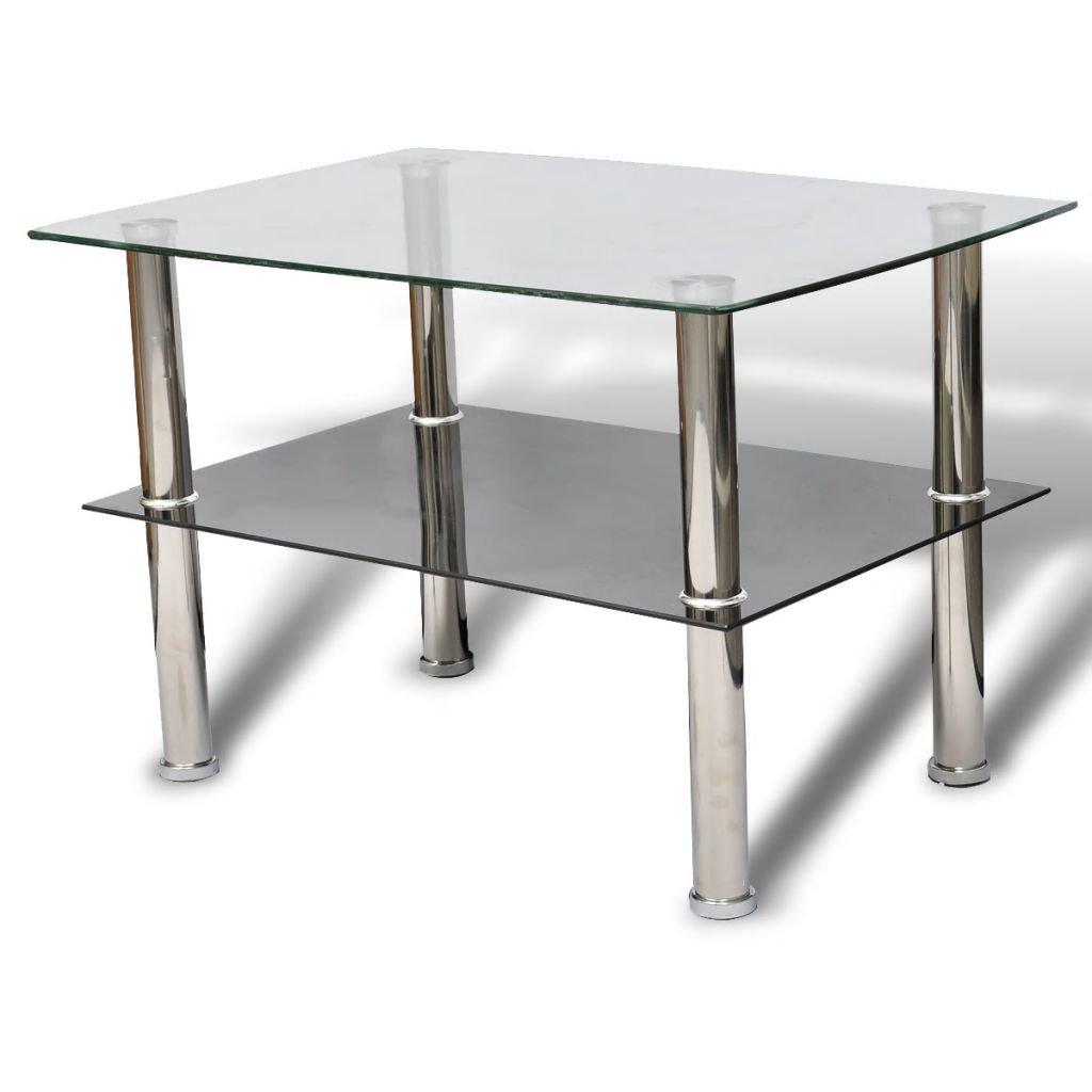 Tidyard Tavolino Moderno in Vetro,Design a Due Strati,65 x 45 x 43 cm