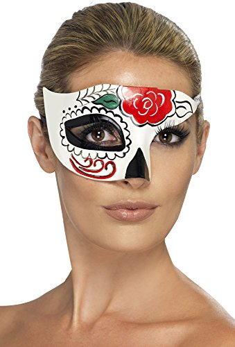 Day Of The Dead Half Eye Mask (Day Of The Dead Woman Halloween Costume)