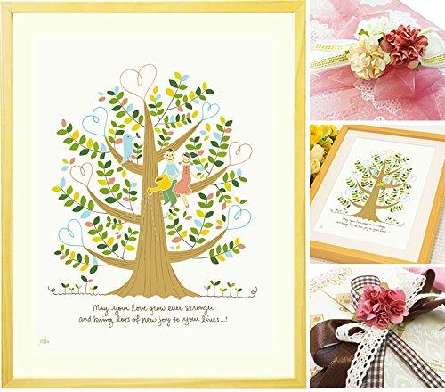 結婚記念日 結婚祝い 絵画アート「しあわせの樹」 【名前入れ可Lサイズ】 結婚30周年記念 プレゼント 20周年 贈り物 B0188IMOH2 Lサイズ Lサイズ