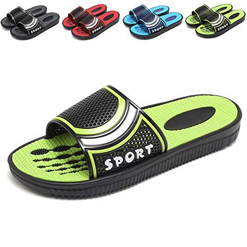 (welltree Mens Slides Bathroom Shower Sandal Shoes Open Toe Indoor Outdoor Garden Beach Pool Slip on Slippers 11 D(M) US Men /45 Green1)