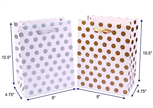 Gift Bags 8x4.75x10.5 Medium Paper Shopping Bags 12 Pack - 6 Gold and 6 Silver Gift Bags Polka Dot Perfect for Weddings, Birthday and Graduation Presents, Gift Wrap Bags by BagDream (Image #1)