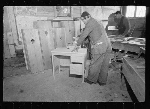 Photo: Cooperative workshop,woodwork,desks,Westmoreland Homesteads,Pennsylvania,PA,1936