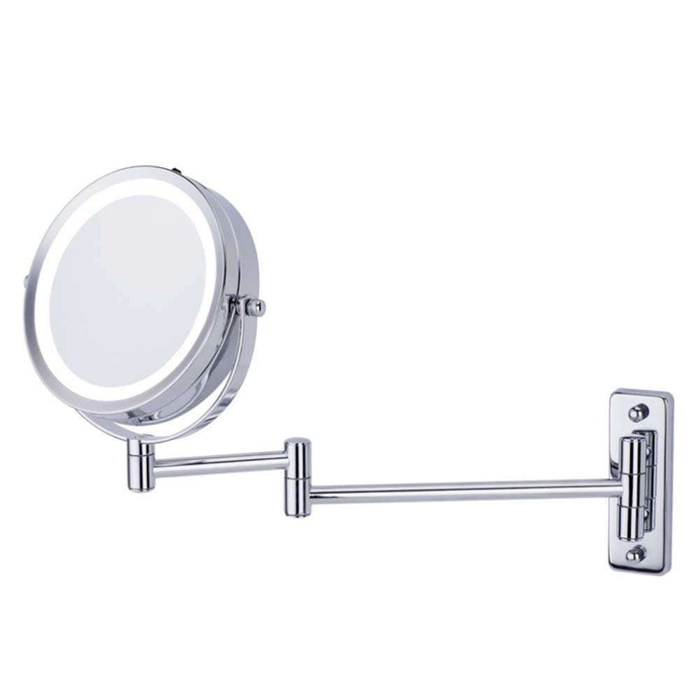 Vinmax Makeup Mirror With Lights And Magnification Double Side Extending Folding Round For Beauty Shaving -5X Magnification