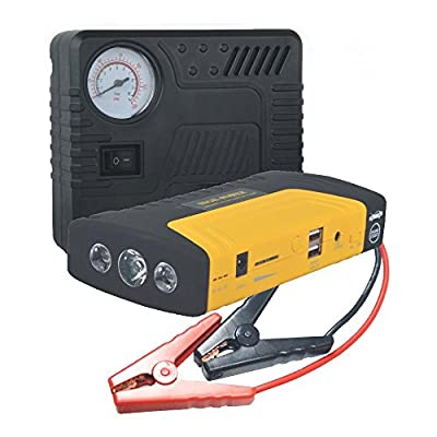 Pyle All in One Car Emergency Kit with Tire Pump Air Compressor Battery Jump Starter Emergency Charger Flashlight