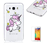 For Samsung Galaxy J5 2016 Case [with Free Screen Protector],Funyye Transparent Flexible Slim Soft Gel TPU Stylish [Lovely Pattern] Anti-Scratch Anti-Shock Creative Design for Girls Protective Phone Case for Samsung Galaxy J5 2016 -Lovely horse
