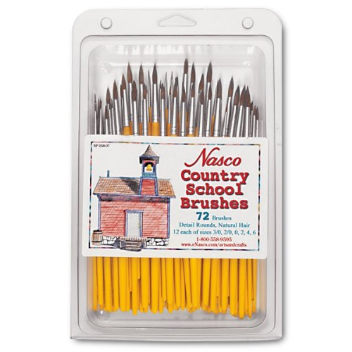 Nasco 72 Piece Country School Detail Round Brush Set