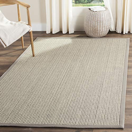 Safavieh Natural Fiber Collection NF475A Hand Woven Grey Wool & Sisal Area Rug (9' x 12') (Rug 12 X Sisal 12)