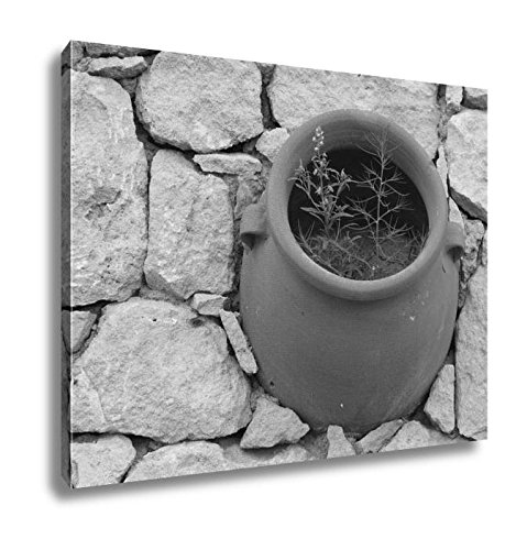 (Ashley Canvas Clay Pot Flower In The Stone Wall View From Above, Kitchen Bedroom Living Room Art, Black/White 24x30, AG6518983)