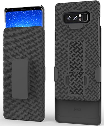 Galaxy Note8 Case, Ailiber Slim Armor Dual Layer Shock Proof Dual Layer with Screen Cover Protector, Swivel Belt Clip Holster with Kickstand Shell for Samsung Galaxy Note 8 -Black