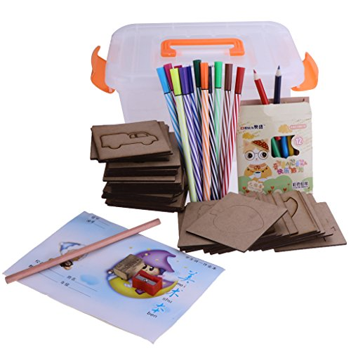 Blesiya 子供 教育おもちゃ 木材 DIYぬり絵画ボード ペイントテンプレート 50点セット