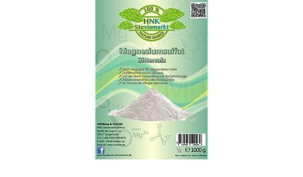Sulfato Sulfato de Magnesio 1 kg - Ayuda a la hora Ayuno Natural y Heil Ayuno - Laxante - Hígado Lavado: Amazon.es: Belleza