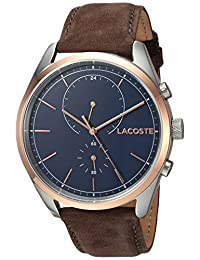 Lacoste Men's 'SAN DIEGO' Quartz Stainless Steel and Leather Casual Watch, Color:Brown (Model: 2010917)
