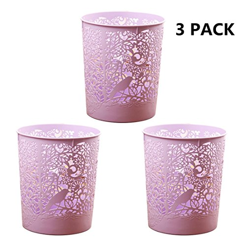 3pcs Waste Bins, XSHION Creative Hollowed-out Kitchen Trash Can Waste Paper Baskets Office Garbage Bins (3pcs Light Purple) by XSHION