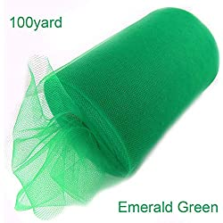 Gouache Wedding Tulle Roll Fabric Spool Tutu Birthday Party Wedding Decoration Wedding Party Favors Event Party Supplies,100 yard Emerald Green