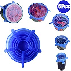 DoGeek Silicone Fresh Stretch Lids Keep Fresh Lids Reusable Environmental Fresh Cover for Kitchen Container Bowl,Cup,Fruits Set of 6 Pcs-Blue