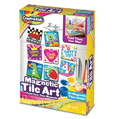 Creative Kids DIY Magnetic Mini Tile Art - Make Your Own Paint Art Craft Set for Kids - Includes 10 Mini Tiles w/Rubber Magnets 6 Colorful Paint Pots 1 Paint ()