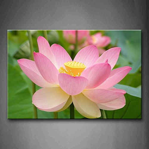 First Wall Art - Pink Lotus With Leafs Wall Art Painting Pictures Print On Canvas Flower The Picture For Home Modern Decoration