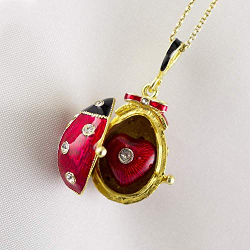 (Ladybug Locket w Heart Surprise Sterling Silver Gold Vermeil Necklace for Women Red Enamel Jewelry Pendant with Chain Ladybird Lucky Charm Gift)