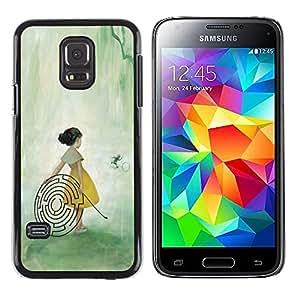 Shell-Star Arte & diseño plástico duro Fundas Cover Cubre Hard Case Cover para Samsung Galaxy S5 Mini / Samsung Galaxy S5 Mini Duos / SM-G800 !!!NOT S5 REGULAR! ( Labyrinth Maze Art Girl Forest Fairy Painting )