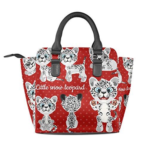 Coosun Signore Emoji Emozioni Piccolo Leopardo Rosso Sfondo In Pelle Pu Borse A Tracolla Top Manico Borsa A Tracolla Tote