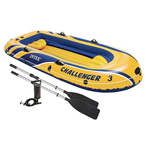 Intex Recreation Challenger 3 Inflatable Raft Boat Set Wi...