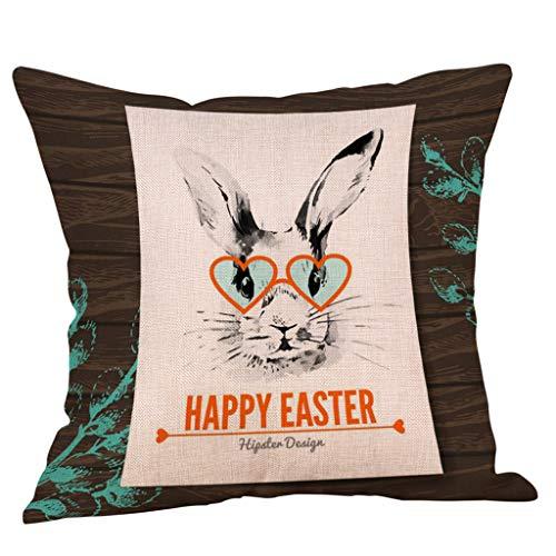 Funda Pascua K Multicolor Decoración Mymyguoe Conejo Cojín Cintura De Lino Abrazo Algodón El Almohada Cuadrada Hogar Para daaFwxq1Y