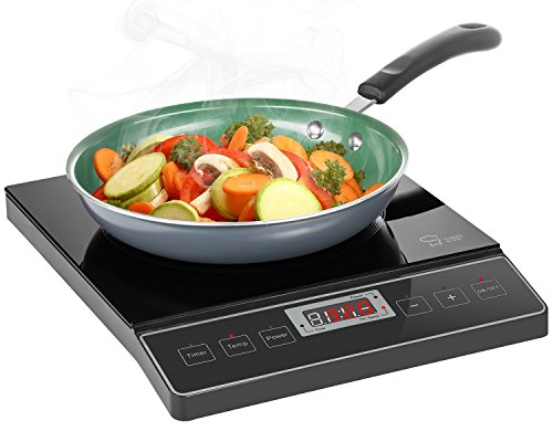 Double With Timer Range (Chef's Star 1800W Portable Induction Cooktop Countertop Burner - 120V / 60Hz - Black)