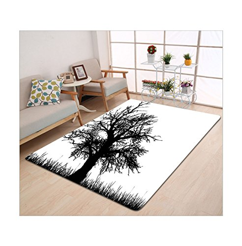 Kisscase Custom Carpet Nature Old Tree Silhouette On Grass Field Foliage Meadow Rural Solitude Artsy Print Black And White