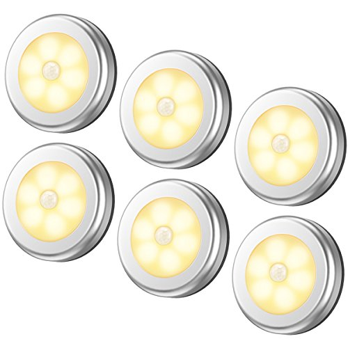 AMIR Motion Sensor Light, Cordless Battery-Powered LED Night Light, Stick-Anywhere Closet Lights Stair Lights, Puck Lights for Hallway, Bathroom, Bedroom, Kitchen, etc. (Warm White - Pack of 6)
