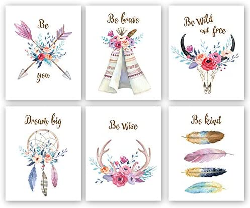 Girls Boho Tribal Art PrintDreamcatcher Feathers Flowers With Inspirational Quote Wall Poster PictureSet Of 6(8X10\u201c Unframed) Watercolor Positive Affirmation Words Bohemian Canvas Poster