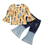 Toddler Baby Girls Feather Print Shirts Bootcut Ripped Denim Jeans Outfit Set