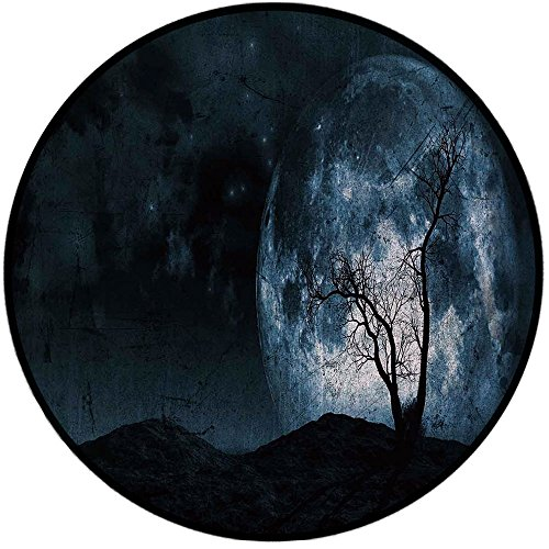 Printing Round Rug,Fantasy,Night Moon Sky with Tree Silhouette Gothic Halloween Colors Scary Artsy Background Mat Non-Slip Soft Entrance Mat Door Floor Rug Area Rug For Chair Living Room,Slate Blue ()