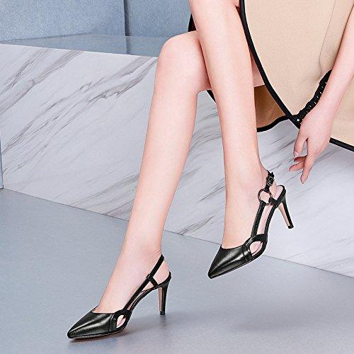 Moda Salvaje De Zapatos Aire Black Tacón Sandalias Cuero De Zapatos Alto De zwHWvqdv1