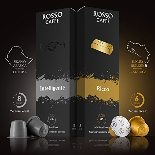 Nespresso Compatible Capsules - Variety Pack (60 Pods) - Fit to All Nespresso Original Line Machine -By Rosso Caffe - 60 Days Satisfaction Guarantee