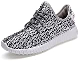 Mark Men's Comfort Slip on Lace-up Casual Athletic Running Shoes Breathable Gym Sneakers White 9.5 M US