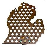 Michigan Beer Cap Map - Holds Craft Beer Bottle Caps - Lower Peninsula