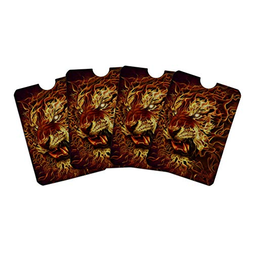 Flaming Fire Tiger Credit Card RFID Blocker Holder Protector Wallet Purse Sleeves Set of 4