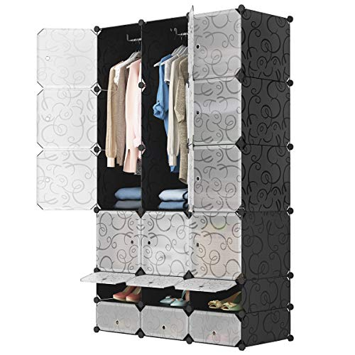 - 18 Cube Portable Wardrobe Closet for Hanging Clothes, Bedroom Armoire Storage Organizer with Doors US Stock